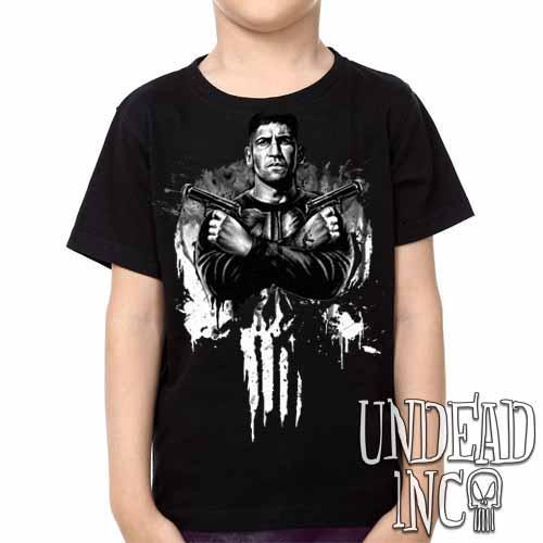 Punisher Black & Grey -  Kids Unisex Girls and Boys T shirt Clothing