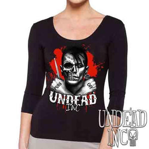 Punk Off Undead Inc Crossbones - Ladies 3/4 Long Sleeve Tee
