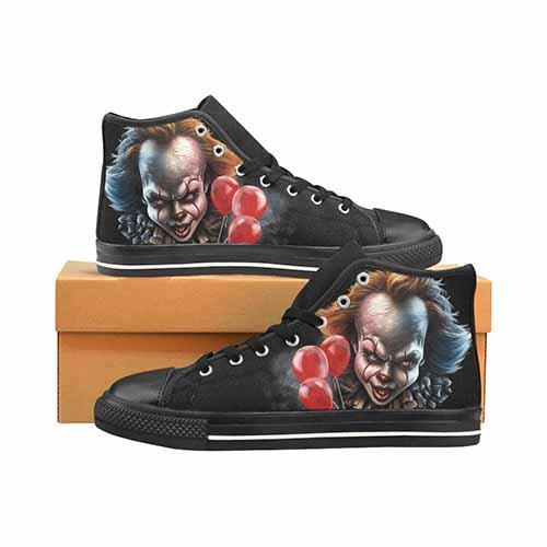 Pennywise IT Horror Movie Women's Classic High Top Canvas Shoes