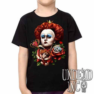Alice In Wonderland Queen Of Hearts Off With Their Heads - Kids Unisex Girls and Boys T shirt - Undead Inc Kids T-shirts,