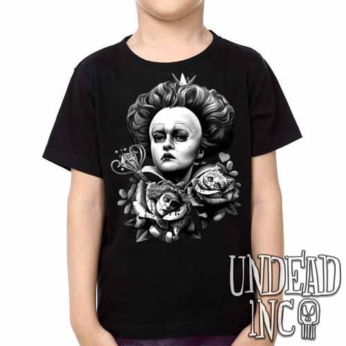 Alice In Wonderland Queen Of Hearts Off With Their Heads Black & Grey Kids Unisex Girls and Boys T shirt - Undead Inc Kids T-shirts,