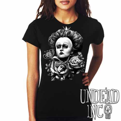 Alice In Wonderland Queen Of Hearts Off With Their Heads Black & Grey - Ladies T Shirt - Undead Inc Ladies T-shirts,