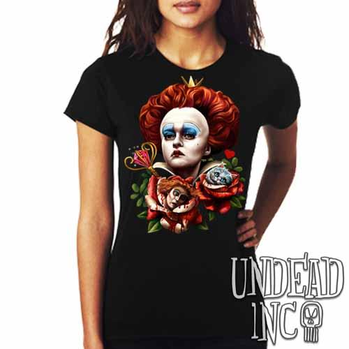 Alice In Wonderland Queen Of Hearts Off With Their Heads - Ladies T Shirt - Undead Inc Ladies T-shirts,
