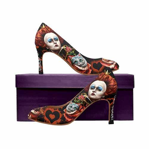 Alice In Wonderland Queen Of Hearts Off With Their Heads MEDIUM High Heels - Undead Inc High Heels,