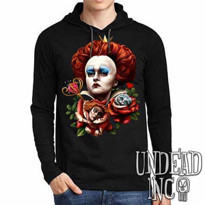 Alice In Wonderland Queen Of Hearts Off With Their Heads - Mens Long Sleeve Hooded Shirt - Undead Inc Long Sleeve T Shirt,