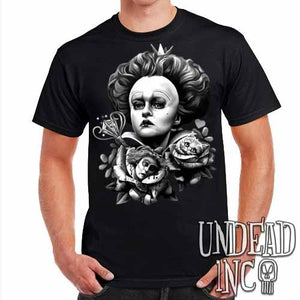 Alice In Wonderland Queen Of Hearts Off With Their Heads Black & Grey Mens T Shirt - Undead Inc Mens T-shirts,