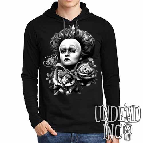 Alice In Wonderland Queen Of Hearts Off With Their Heads Black & Grey Mens Long Sleeve Hooded Shirt - Undead Inc Long Sleeve T Shirt,