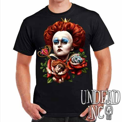 Alice In Wonderland Queen Of Hearts Off With Their Heads - Mens T Shirt - Undead Inc Mens T-shirts,