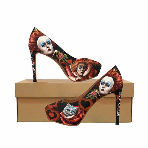 Alice In Wonderland Queen Of Hearts Off With Their Heads Platform High Heels - Undead Inc High Heels,