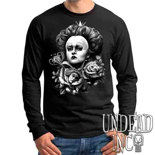 Alice In Wonderland Queen Of Hearts Off With Their Heads Black & Grey - Mens Long Sleeve Tee