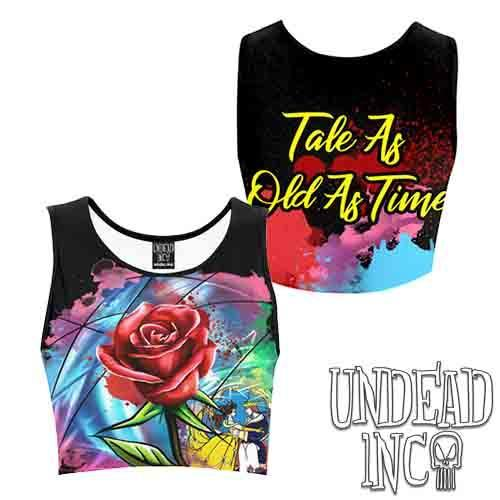 Beauty & The Beast Stained Glass Graffiti Rose Women's Crop Top