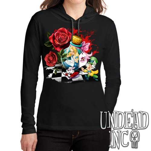 Alice In Wonderland Down The Rabbit Hole Ladies Long Sleeve Hooded Shirt