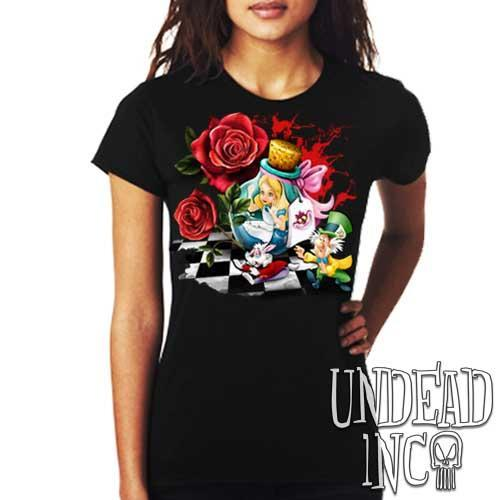 Alice In Wonderland Down The Rabbit Hole - Ladies T Shirt Ladies T-shirts Undead Inc