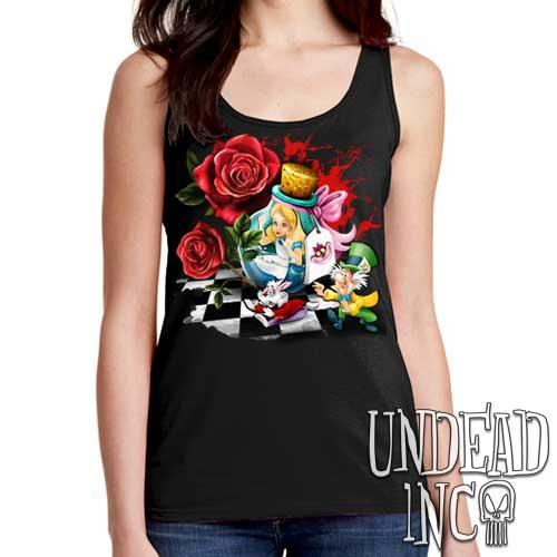 Alice In Wonderland Down The Rabbit Hole - Ladies Singlet Tank