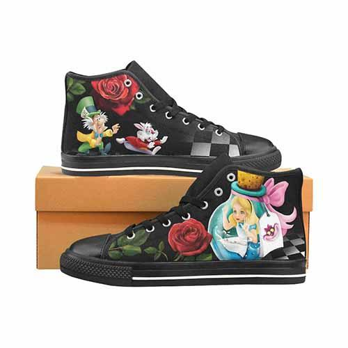 Alice In Wonderland Down The Rabbit Hole Men's Classic High Top Canvas Shoes - Undead Inc Men's High Top Canvas,