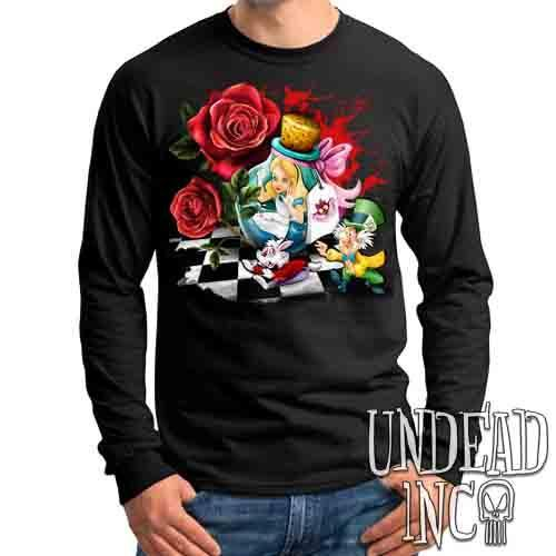 Alice In Wonderland Down The Rabbit Hole - Mens Long Sleeve Tee