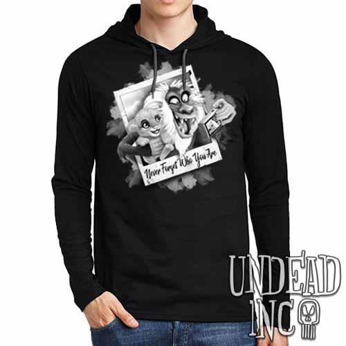 The Lion King Simba and Rafiki Selfie Black Grey Mens Long Sleeve Hooded Shirt