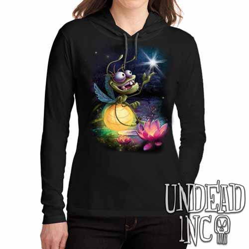 Princess and the Frog Ray - Ladies Long Sleeve Hooded Shirt Long Sleeve T Shirt Undead Inc