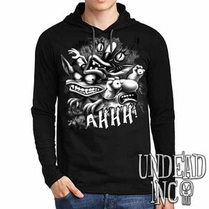 AHH! Real Monsters Black Grey Mens Long Sleeve Hooded Shirt - Undead Inc Long Sleeve T Shirt,