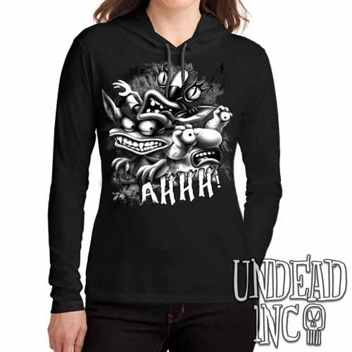 AHH! Real Monsters Black Grey Ladies Long Sleeve Hooded Shirt - Undead Inc Long Sleeve T Shirt,