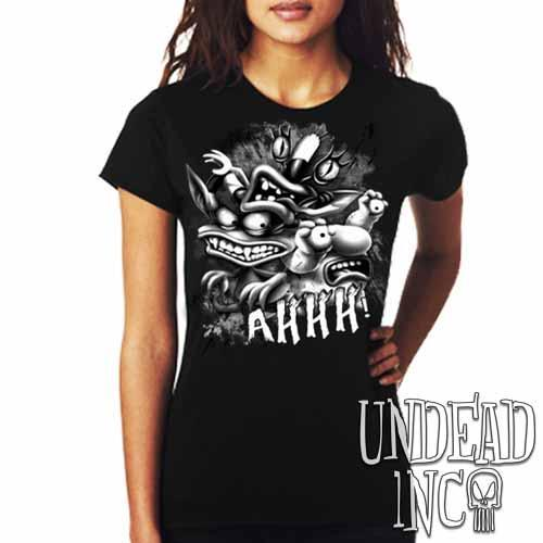 AHH! Real Monsters Black & Grey Ladies T Shirt - Undead Inc Ladies T-shirts,