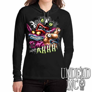 AHH! Real Monsters - Ladies Long Sleeve Hooded Shirt - Undead Inc Long Sleeve T Shirt,