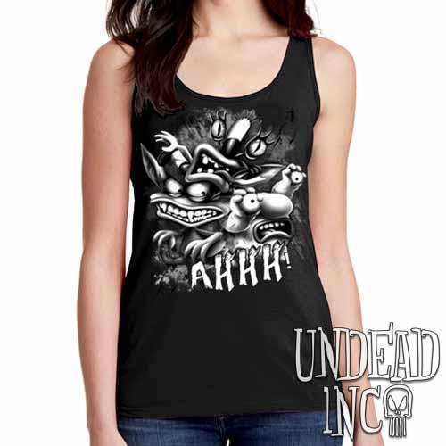 AHH! Real Monsters Black & Grey Ladies Singlet Tank - Undead Inc Ladies Tank Tops,