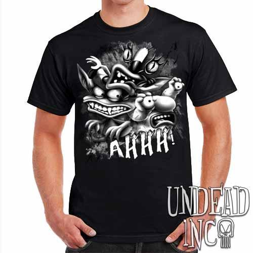 AHH! Real Monsters Black & Grey Mens T Shirt - Undead Inc Mens T-shirts,