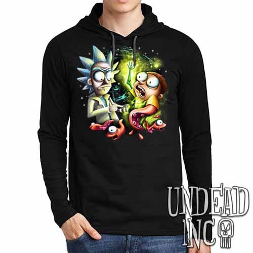 Rick & Morty - Mens Long Sleeve Hooded Shirt