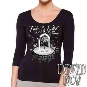 Tale As Old As Time Enchanted Rose Black & Grey - Ladies 3/4 Long Sleeve Tee