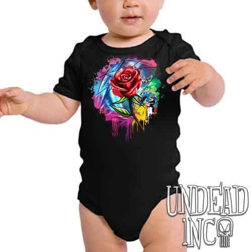 Beauty and the Beast Enchanted Rose Dripping Stained Glass - Infant Onesie Romper