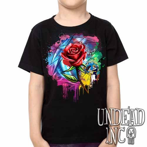 Beauty and the Beast Enchanted Rose Dripping Stained Glass  - Kids Unisex Girls and Boys T shirt - Undead Inc Kids T-shirts,