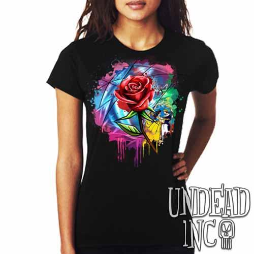 Beauty and the Beast Enchanted Rose Dripping Stained Glass - Ladies T Shirt - Undead Inc Ladies T-shirts,