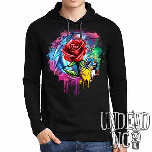 Beauty and the Beast Enchanted Rose Dripping Stained Glass - Mens Long Sleeve Hooded Shirt - Undead Inc Long Sleeve T Shirt,