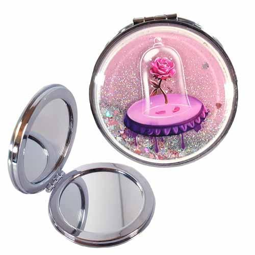 Beauty & The Beast Enchanted Rose Undead Inc LIQUID GLITTER Compact Mirror - Undead Inc compact mirror,