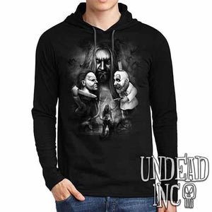 Rob Zombie Black Grey Mens Long Sleeve Hooded Shirt