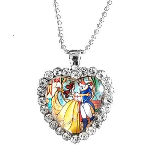 Beauty and the Beast Crystal Stain Glass Heart Necklace