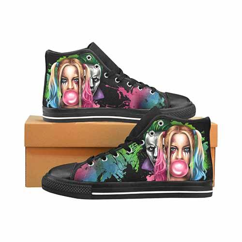 Suicide Squad Harley Quinn & Joker Graffiti Men's Classic High Top Canvas Shoes