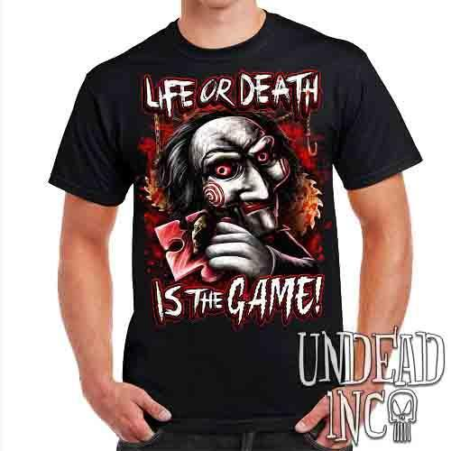 SAW Puppet Life Or Death - Mens T Shirt