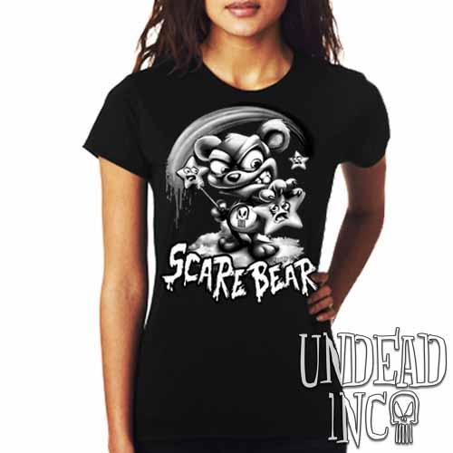 Undead Inc Scare Bear Hunting Stars Black & Grey - Ladies T Shirt