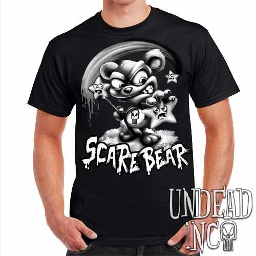 Undead Inc Scare Bear Hunting Stars Black & Grey - Mens T Shirt