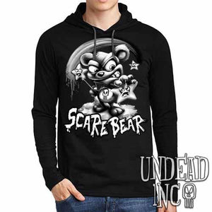 Undead Inc Scare Bear Hunting Stars Black & Grey Mens Long Sleeve Hooded Shirt