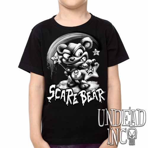 Undead Inc Scare Bear Hunting Stars Black & Grey -  Kids Unisex Girls and Boys T shirt Clothing
