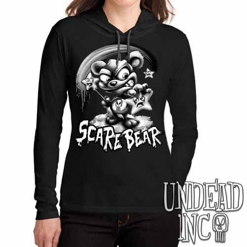 Undead Inc Scare Bear Hunting Stars Black & Grey Ladies Long Sleeve Hooded Shirt