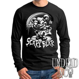 Undead Inc Scare Bear Hunting Stars Black & Grey - Mens Long Sleeve Tee