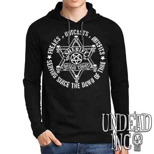 Undead Inc County Sherriff - Mens Long Sleeve Hooded Shirt Long Sleeve T Shirt Undead Inc