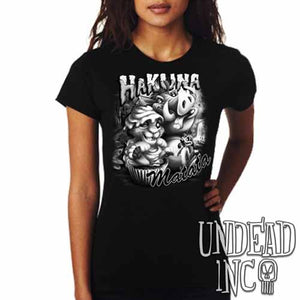 Lion King Cupcake Simba Timon & Pumba - Ladies T  Black & Grey