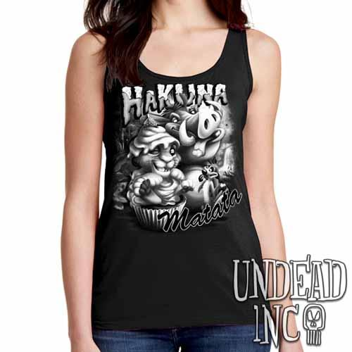 Lion King Cupcake Simba Timon & Pumba - Ladies Singlet Tank Black & Grey