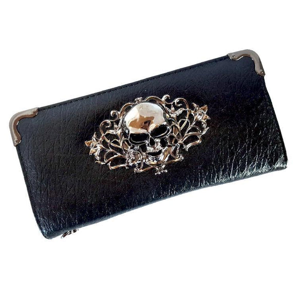 Victorian Gothic Skull Black Long Line Wallet Purse