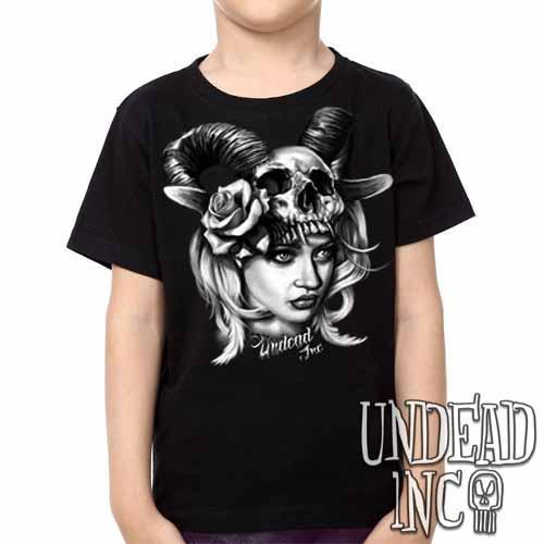 Black Grey Tattoo Art Head Hunter -  Kids Unisex Girls and Boys T shirt Clothing - Undead Inc Kids T-shirts,